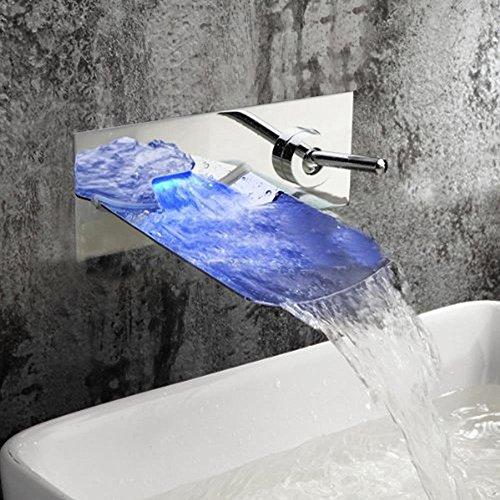 Grifo galvanizado retro galvanizado de grado superior con acabado cromado para lavabo de baño, cambia de color con el cascada LED para montar en la pared, grifo de lavabo y grifo de lavado, mango de cerámica