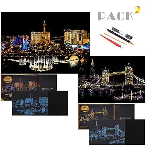SiYear Scratch Paper Rainbow Painting Sketch, City Series Night Scene, Scratch Painting Creative Gift, Scratchboard para Adultos y niños con 4 Herramientas '' (Las Vegas + Tower Bridge)