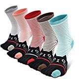 Mujer cinco calcetines de los dedos, Algod¨n Calcetines de Animales Lindos para Mujer Calcetines de Divertidos Ocasionales, 5 pares