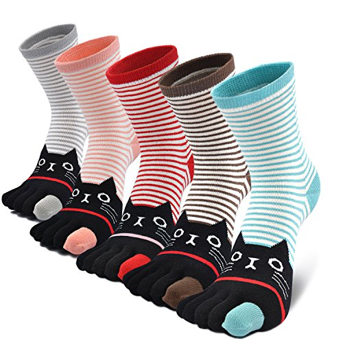 LOFIR Bunte Lustige Zehensocken Damen 5 Finger Socken aus Baumwolle Tier Socken Süß Karikatur Katze Hund Socken Kawaii Sneaker Socken mit Zehen, Größe 35-41, 5 Paare