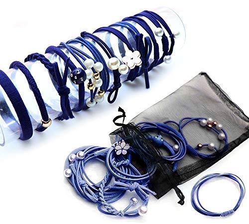 Ldawy cintas elásticas para el pelo para niñas, 36 piezas de moda Cute Bow Hair Scrunchies Bandas para el cabello para niñas, mujeres (azul marino)