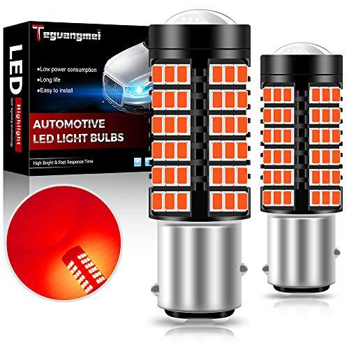 Teguangmei 1157 BAY15D P21/5W Luci dei Freni a LED ad Alta Potenza 2835 78SMD 6000K Rosso Utilizzato per Luci dei Freni Dell'auto Fendinebbia Posteriori Luci di Retromarcia 12-24V (Confezione da 2)