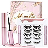Magnetic Eyelashes with Eyeliner Magnetic Eyeliner Kit Easy to Apply Reusable Magnetic Lashes Last Long Lashes Tweezers Natural Magnetic Lashes 5 Pairs