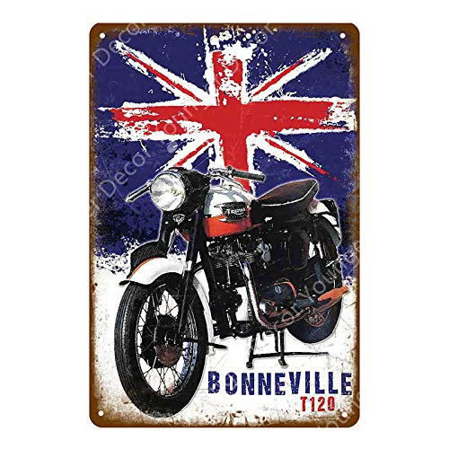 ZYZRYP Tinplate Wall Art Motor Oil Metal Sign Classic Motorcycle Poster Retro Painting Bar Garage Decoration 20x30cm YD5370J
