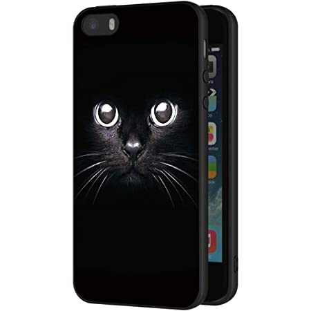 EuCase Coque iPhone 5s Silicone Motif Housse Etui iPhone 5 avec Anneau Support Antichoc Ultra Mince Fine Souple TPU Case Protection Bumper Case Cover Chat
