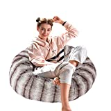 Dporticus Christmas Series Lounger Memory Foam Faux Fur Comfy Bean Bag Chair Sofa Plush Furry Sponge Filling for Adults and Kids 3 Ft,Crepe Print