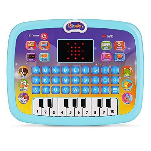 CYZAM Baby Tablet Toy for 1 2 3 Years Old Boys Girls, Educational Learning Toys with Light and Music, Interactive Toy for Numbers, Alphabet, Animals and Maths, Gift for Infants Toddlers Kids