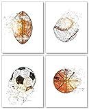 Confetti Fox Boys Girls Room Sports Wall Decor - 8x10 Unframed Set of 4 Art Prints - Football Baseball Soccer Basketball