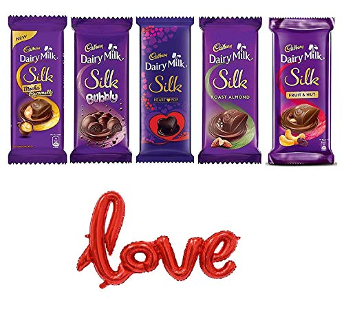"""KIDSOR Valentines Day Gifting Combo with Cadbury Dairy Milk Silk (335 gm) -Pack of 6 Combo and 18 Inches """"Love"""" letter Foil Balloon"""