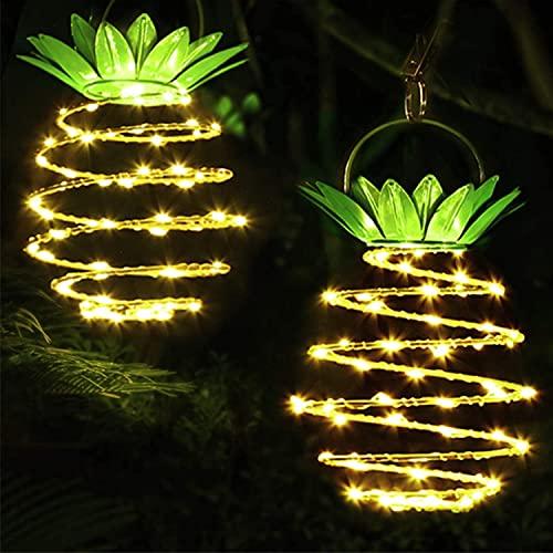 Garten Solarlampe Solarlampen für Außen,Lichterkette Außen,60 LED hängende Ananas Solarleuchte,IP65 Imprägniern,Solarlaternen im Freien für Garten (2PACK)