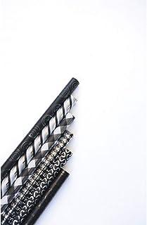 Clairefontaine 95895C - Rolle Geschenkpapier Premium, 2m x 70cm, 80g, 1 Rolle, sortierte Motiven Schwarz/Silber