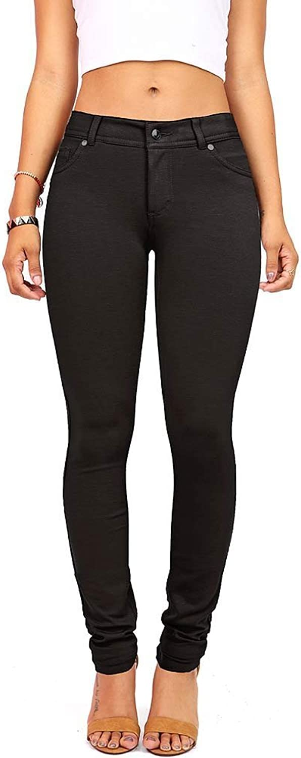 Active Women's Juniors Stretchy Jeggings Pants w Zip Fly