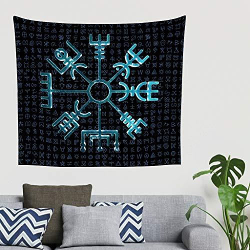 Bohemio Vintage Azul Nórdico vikingo Vegvisir runas brújula fantasía pared pared pared pared pared Tapiz de pared funda de sofá cabecero pantalla de fondo 200x150cm blanco
