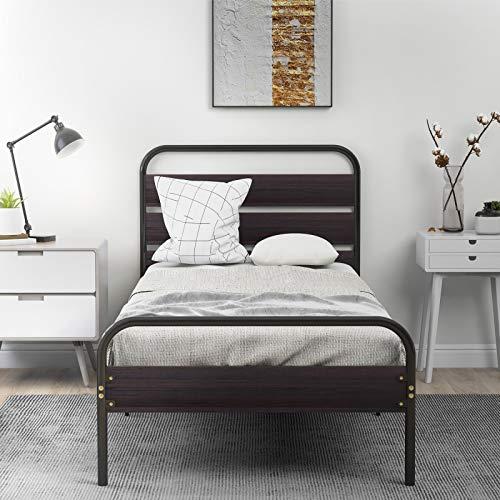 Pumpumly Marco de cama con cabecero y plataforma de madera, estructura de cama individual de metal con gran capacidad de almacenamiento para adultos, niños y adolescentes(negro, 90 x 200 cm)