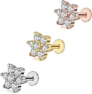 gold flower tragus earring