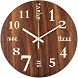 BEW Glow in Dark Wall Clock, 14 Inch Night Light Creative Words Wooden Clock, Luminous Silent Battery Operated Analog Wall Clock for Bedroom, Living Room, Kitchen, Office