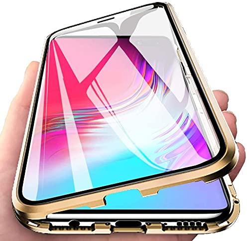 LIUKM Funda para Huawei P30 Lite, Adsorción Magnética conchoques de Metal con 360 Grados Protección Case Cover Transparente Ambos Lados Vidrio Templado Cubierta - Dorado