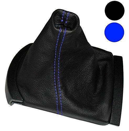 AERZETIX: Funda para palanca de cambios 100% PIEL GENUINA negro con costuras azul