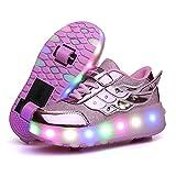 Unisex Niñas Niño LED USB Recargable Zapatillas con Ruedas Single Doble Ronda Neutra Automática de Skate de Patìn Zapatos Calzado de Deportes de Exterior