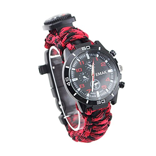 16 in 1 Sports Survival Bracelet, Outdoor 7 Core Paracord Mountaineering Waterproof Watch Emergency Wristband First Aid Tools with Compass, Rescue Whistle, Fire Starter, Fishing Kit