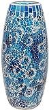 Maturi Jarrón de Mosaico de Cristal Agrietado, Azul, 30 cm