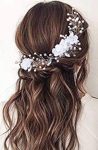 Zoestar Blumen-Braut-Haarreif, silberne Kristall-Stirnbänder, Perlen, Kopfschmuck, Brautschmuck, Haarschmuck für Frauen und Mädchen