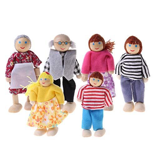 BINGBIAN Muebles de casa de muñecas de madera en miniatura, juguetes de muñeca, casa de familia, persona, figuras de fingir jugar casa de muñecas para niños