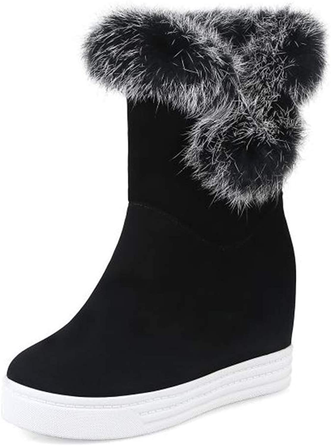 Women Winter Fur Lined Mid Calf Wedge Snow Boots Winter Warm shoes