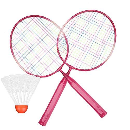 Badminton-Set für Kinder - Badminton-Schlägerball, 2-Spieler-Übungsschlägerschläger, strapazierfähiges Badminton-Set mit 2 Schlägern, Ball und Birdie für Indoor-Outdoor-Sportarten, Kindertraining