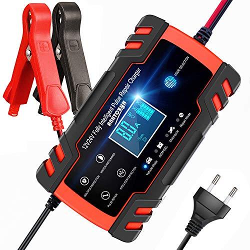 Batterie Ladegerät Auto, Aibeau Autobatterie Ladegerät 8A/24V Batterieladegerät Auto Erhaltungsladegerät mit LCD-Bildschirm Mehrfachschutz für Autobatterie, Motorrad, Rasenmäher oder Boot