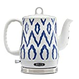 BELLA 1.2 Liter Electric Ceramic Tea Kettle with Detachable Base & Boil Dry Protection, Blue Aztec,...
