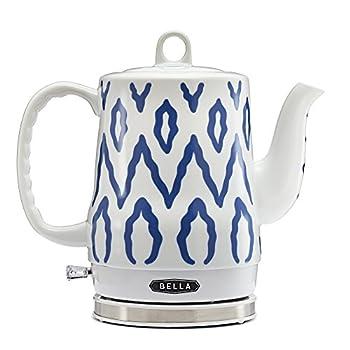 BELLA 1.2 Liter Electric Ceramic Tea Kettle with Detachable Base & Boil Dry Protection Blue Aztec Electric Tea Kettle with Automatic Shut Off & Detachable Swivel Base  13724