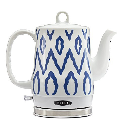 BELLA 1.2 Liter Electric Ceramic Tea Kettle with Detachable Base & Boil Dry Protection, Blue Aztec, Electric Tea Kettle with Automatic Shut Off & Detachable Swivel Base (13724)