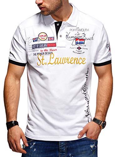 behype. Herren Kurzarm Polo-Shirt Bedruckt 20-0001 Weiß XXL
