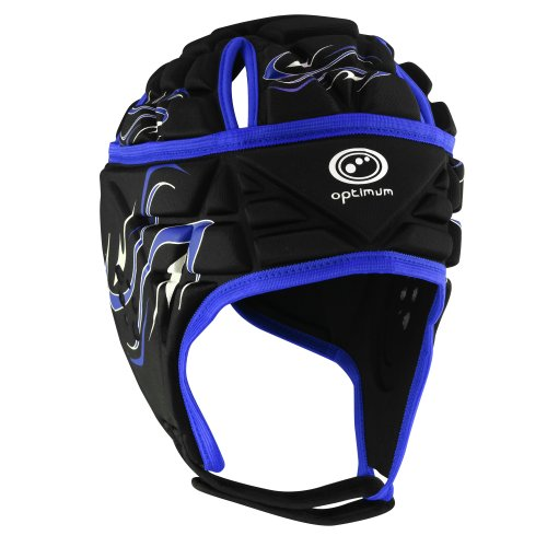 OPTIMUM Inferno - Casco de Rugby, Color Negro/Azul (Black/Blue), Talla Medium