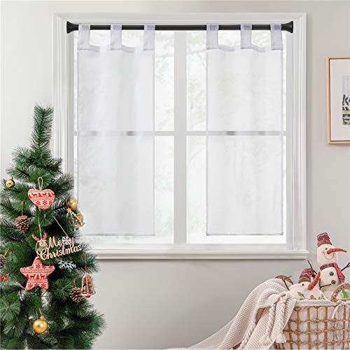 Topfinel 2 Panneaux Noël Rideaux Brise-Bise Blanc 45x90cm en Polyester Prêt à Poser Voilage Transparents de Fenêtre pour Cuisine Baie Vitrée