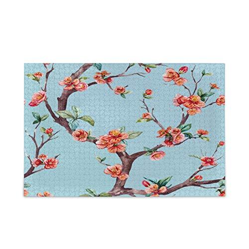 ISAOA Puzzle de 500 piezas para niños y adultos, rompecabezas de acuarela Sakura con bolsa de almacenamiento