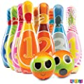 Play22 Kids Bowling Set with Carrying Bag - Colorful 12 Piece Toy Bowling Set - Sturdy Soft Foam Set - Includes 10 Pins and 2 Balls – Childrens Bowling Set & Toddler Bowling Set - Original from Play22