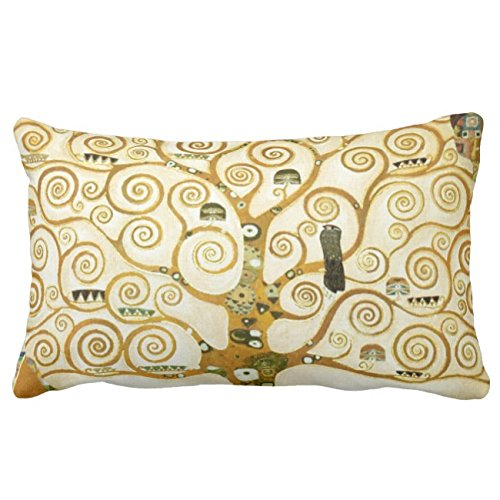 UOOPOO Gustav Klimt The Tree Of Life Vintage Art Nouveau Lumbar Throw Pillow Case Square 12 x 18 Inches Soft Cotton Canvas Home Decorative Wedding Cushion Cover for Sofa and Bed One Side
