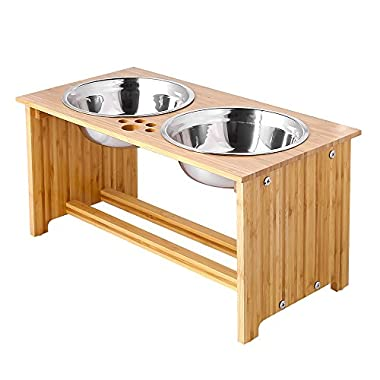 FOREYY Raised Pet bowls for Medium and Large Dogs - Bamboo Elevated Dog Cat Food and Water Bowls Stand Feeder with 2 Stainless Steel Bowls and Anti Slip Feet (New 10'' Tall)