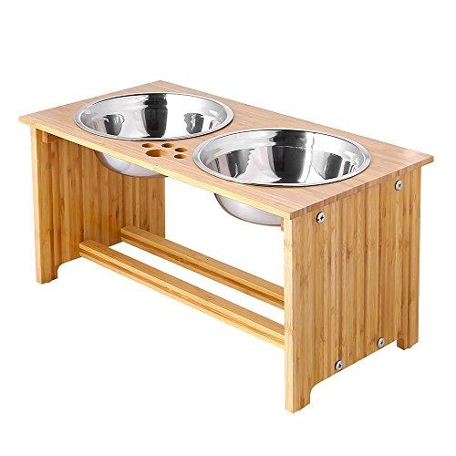 FOREYY erhöhte Hundeschüsseln für Katzen und Hunde, 2 Schüsseln aus Edelstahl, mit Bambus-Halter und rutschfesten Füßen (Large - 25.4 cm high)