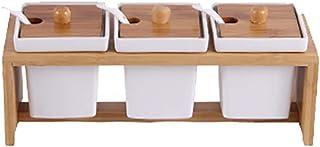 Sywlwxkq Pots à épices carrés Ensemble de boîte d'assaisonnement en céramique Sel Sucre Épice Poivre Conteneur à Condiment...