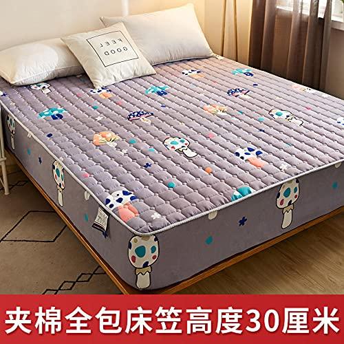 CYYyang Protector de colchón Transpirable.Rizo Bambú. Sábana de una Pieza Transpirable Engrosada a Prueba de Polvo-9_120 * 200cm