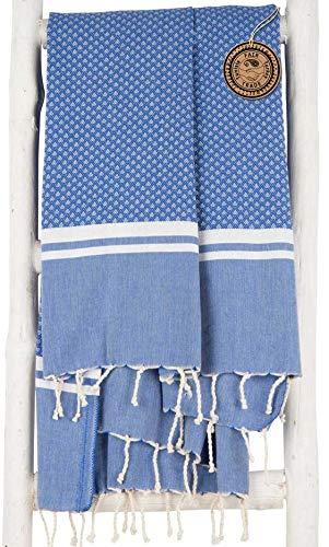 ZusenZomer Fouta   Toalla hammam 'Sousse'   Toalla de baño Liviana  100x190 cm   100% algodón diseño Exclusivo (Azul)