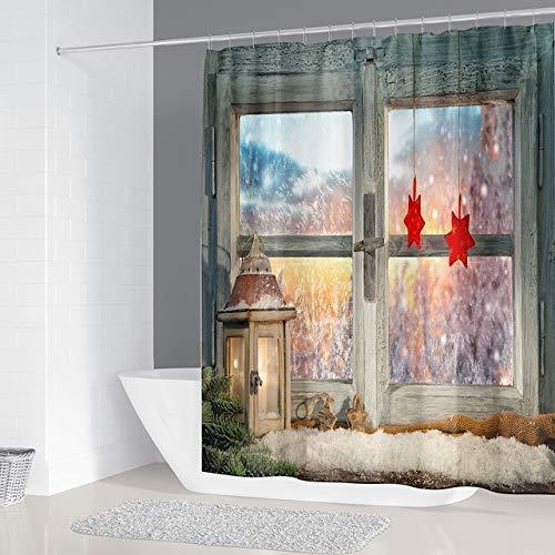 KUKUALE Bipoobee Feliz Natal Cortina de chuveiro 3D janelas Cortinas do banheiro Conjunto banho antiderrapante tapetes higiênico Capa de assento tapete 180X180CM (71X71 Pulgadas)