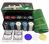 tapete de Juego El juego Caso portátil Poker Table Top ficha de póker Conjunto 200PCS con aluminio for Texas Hold'em Blackjack o diaria Juego de entretenimiento Poker Accesorios Alfombra de póker