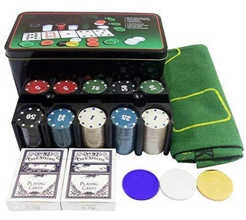 ALBBMY Tabla Portable Poker Top ficha de póker Set 21 Set Point Caja De Hierro con 200 Código Mantel Virutas del Juego Casual y Poker Ajedrez Entretenimiento
