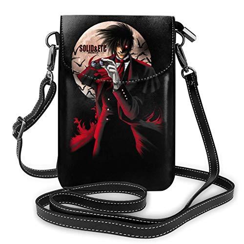 shenguang Anime Hellsing Ultimate Alucard Bolso pequeño para teléfono celular de cuero para mujer Bolsos cruzados Negro Talla única