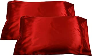 2pc New Queen/Standard Silk~y Satin Pillow Case Multiple Colors (Red)