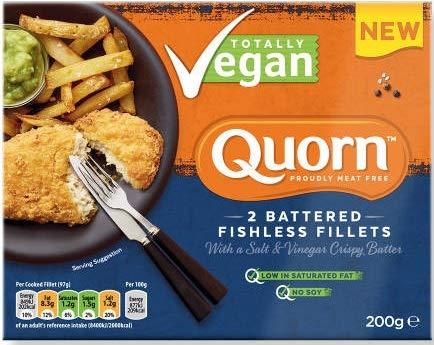 Quorn Filetes rebozados Pescado Sal y Vinagreta 200g   Vegano   Sin Pescado (Pack de 4)
